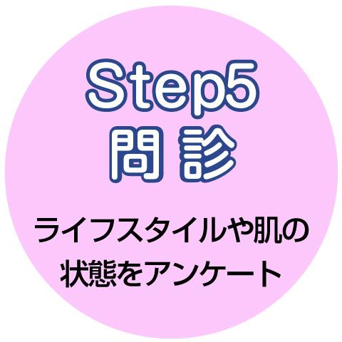 step5 問診 ライフスタイルや肌の状態をアンケート